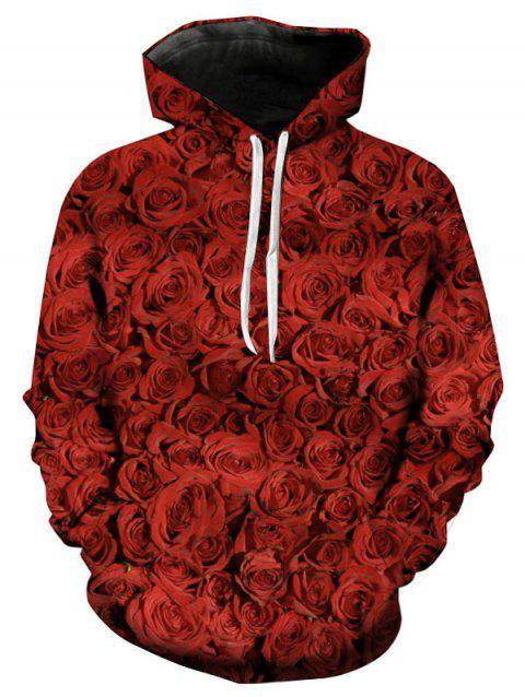 Valentine's Day 3D Roses Printed Pullover Hoodie - LAVA RED M
