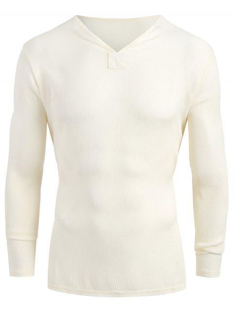Long Sleeves V-Neck High Low Shirt - BEIGE 2XL