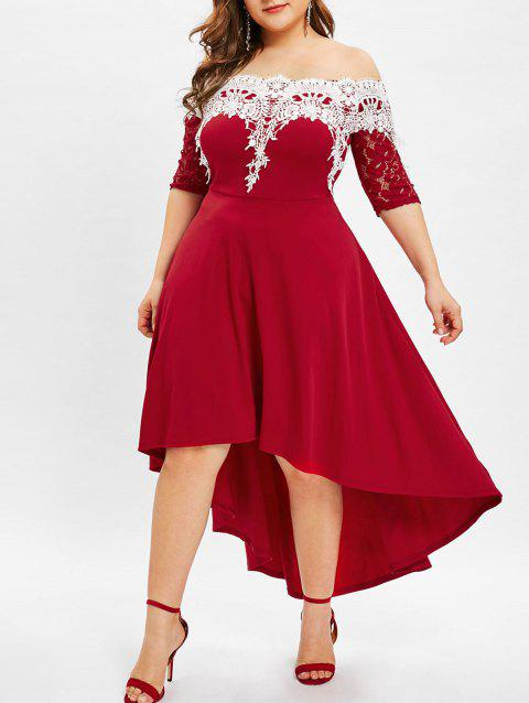 Off The Shoulder Plus Size High Low Dress - RED 1X