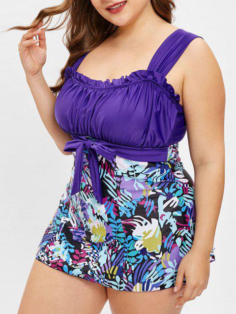 Plus Size Ruched Leaves Print Tankini Set - multicolor 4X