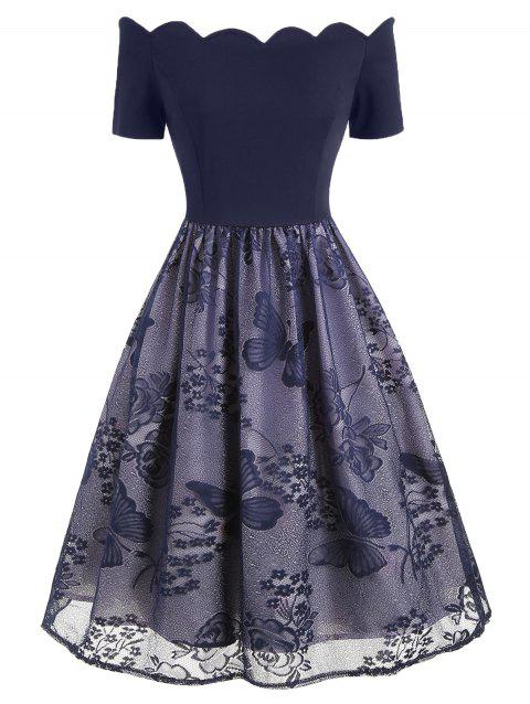 Vintage Scalloped Lace Butterfly A Line Dress - CADETBLUE S
