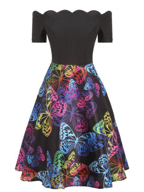 Butterfly Print Off The Shoulder A Line Dress - multicolor S