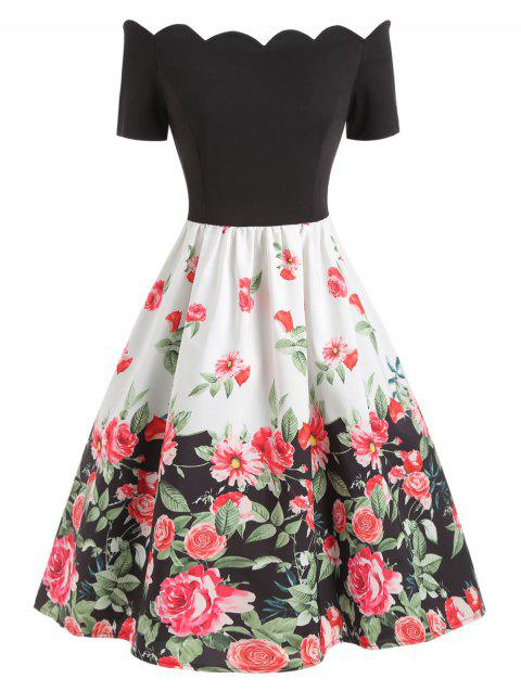 Short Sleeve Printed Scalloped A Line Dress - multicolor S
