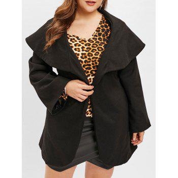 Plus Size Turn Down Collar Belted Coat