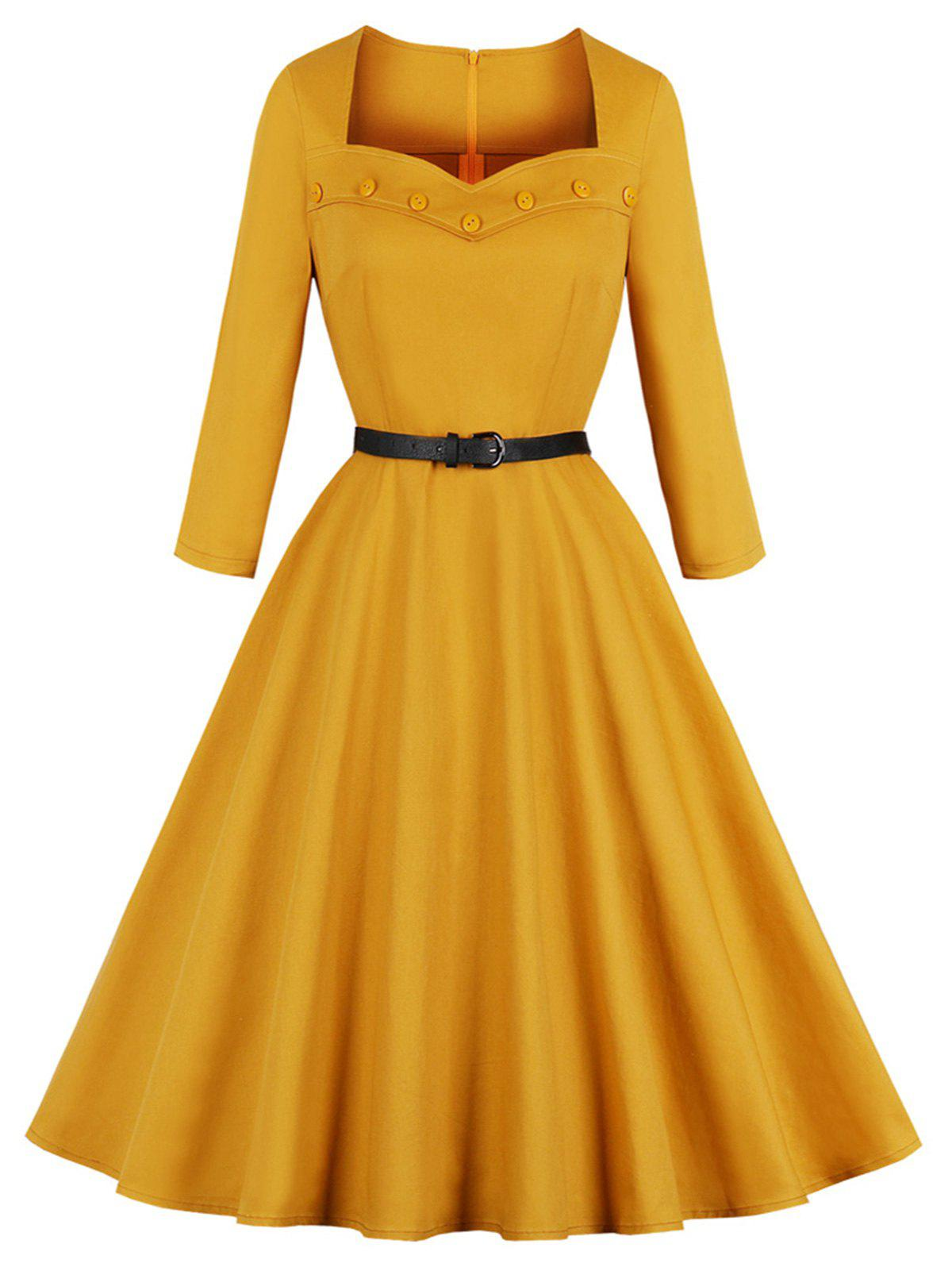 Sweetheart Neck Vintage Pin Up Dress - GOLDEN BROWN S