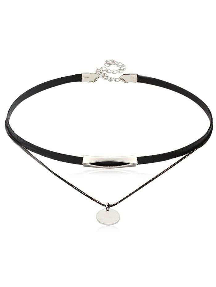 Double Layered Leather Chain Choker Necklace - SILVER
