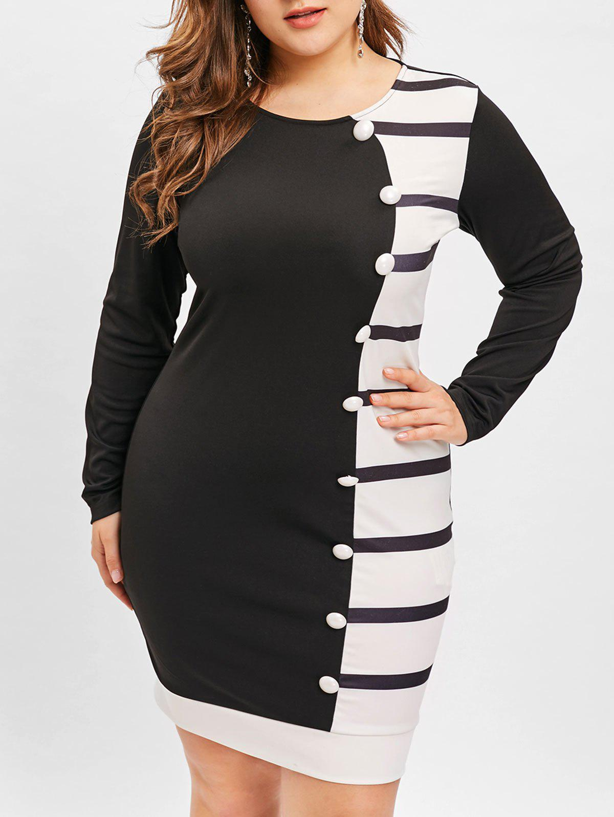 Plus Size Hit Color Striped Buttons Embellished Bodycon Dress - BLACK L