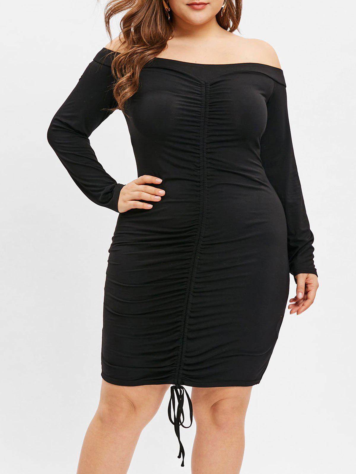 Plus Size Off The Shoulder Drawstring Ruched Dress - BLACK 5X