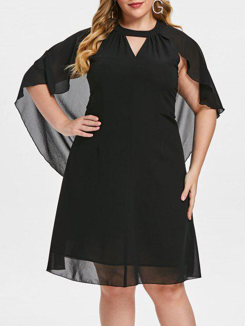 Plus Size Solid Color Cut Out Batwing Sleeve Dress - BLACK 5X