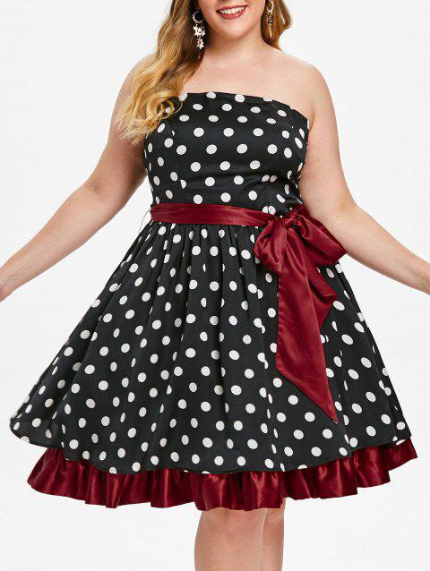 Plus Size Strapless Polka Dot Vintage Dress - BLACK 5X