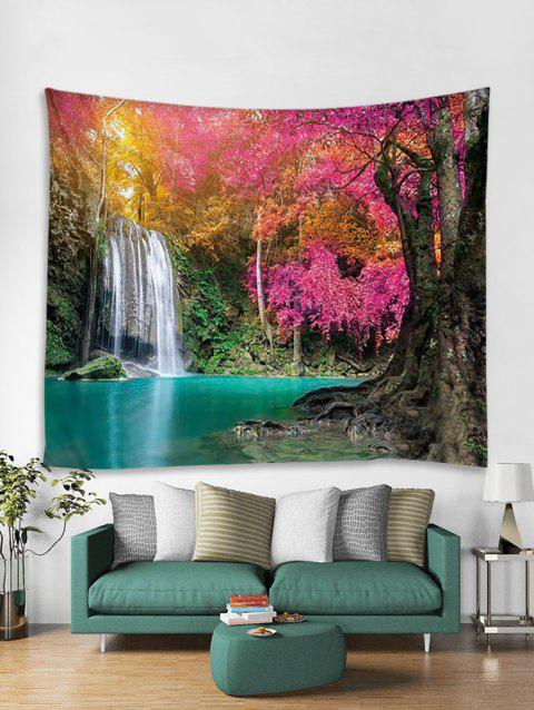 Waterfall Forest Print Tapestry Wall Hanging Art Decoration - multicolor W91 X L71 INCH