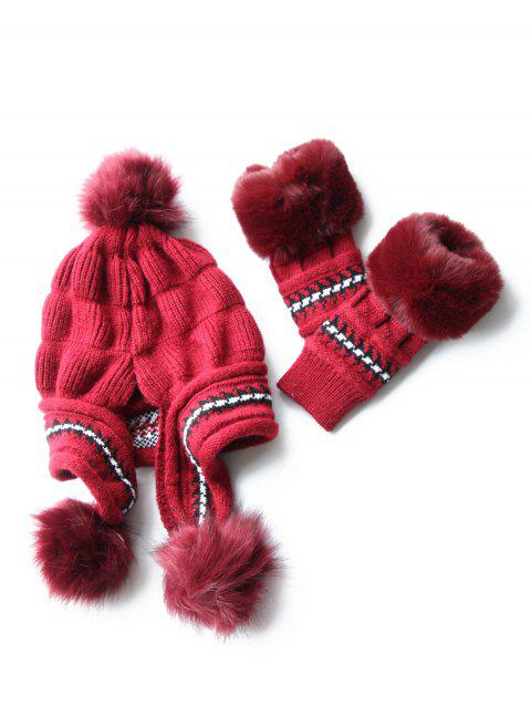Stylish Winter Knitted Hat Gloves Set - RED