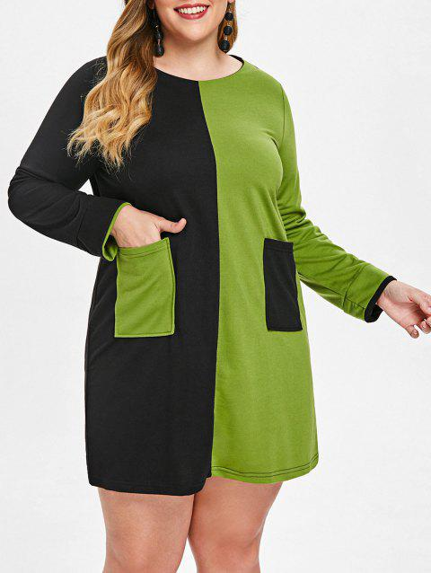 Front Pocket Plus Size Two Tone Dress - GREEN APPLE L