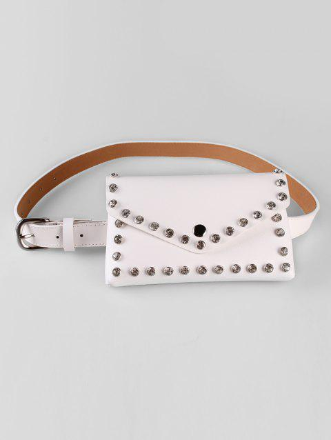 Fashionable Rhinestone Embellished Fanny Pack Belt - WHITE