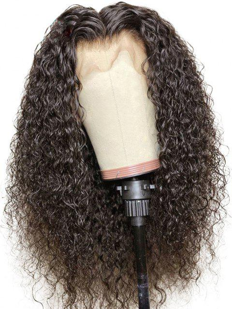 Center Parting Long Water Curly Synthetic Lace Front Wig - DEEP BROWN