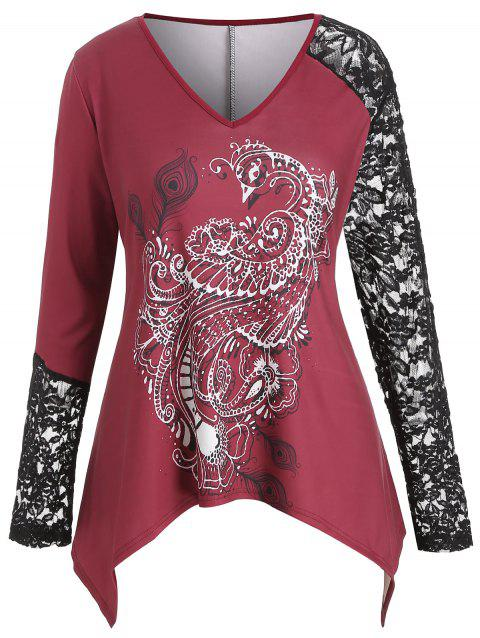 Plus Size Raglan Sleeve Printed V Neck Top - RED WINE 1X