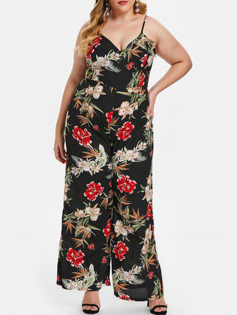 Plus Size Back Criss Cross Floral Print Jumpsuit - BLACK 3X