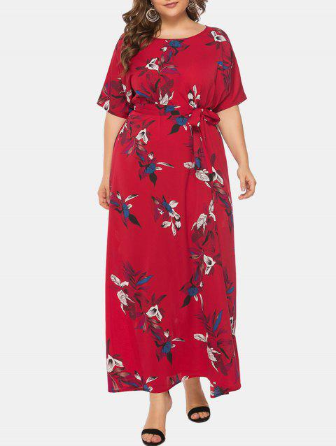 Plus Size Flower Belted Maxi Dress - RED 2X