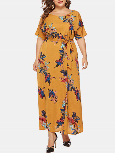Plus Size Flower Belted Maxi Dress - YELLOW 1X