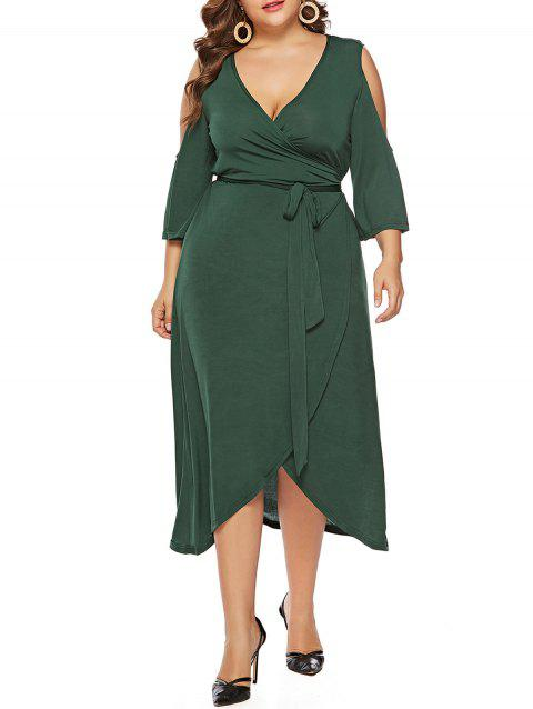 Plus Size Cold Shoulder V Neck Wrap Dress - MEDIUM FOREST GREEN 1X