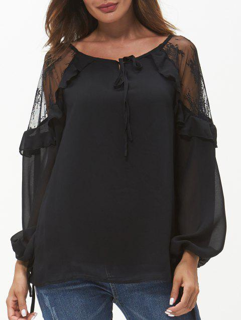 Round Neck See Through Lace Panel Blouse - BLACK M
