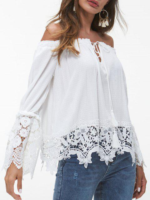 Off The Shoulder Lace Applique Shirt - WHITE M
