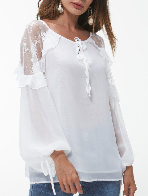 Round Neck See Through Lace Panel Blouse - WHITE S