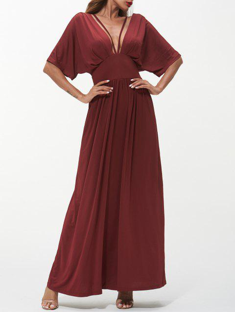 Plunging Neck Backless Long Dress - RED WINE M