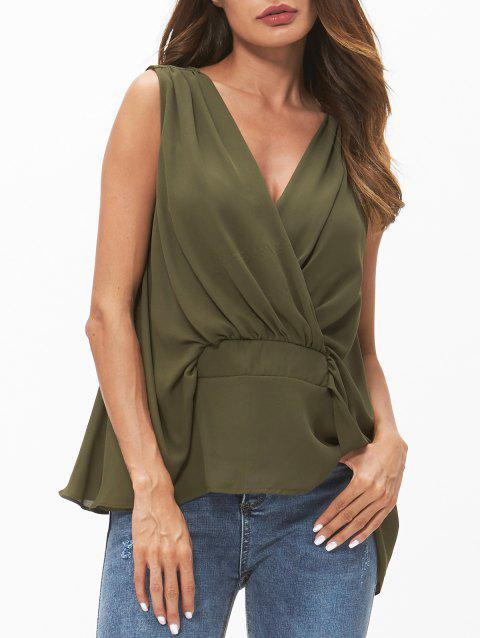 V Neck High Low Tank Top - CAMOUFLAGE GREEN L