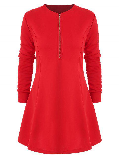 Robe Moulante en Couleur Unie à Demi-zip - Rouge S