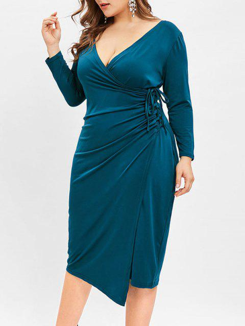 Plus Size Plunging Neck Bodycon Knee Length Dress - BLUE IVY 4X