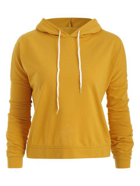 Long Sleeve Solid Pullover Cropped Hoodie - CORN YELLOW XL