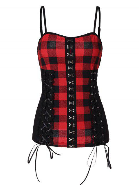 Plaid Panel Spaghetti Straps Tank Top - multicolor L