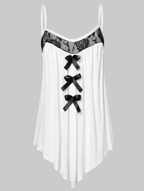 Plus Size Lace Panel Bowknot Embellished Cami Top - WHITE 3X