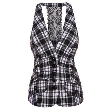 Lace Panel Checked Vest