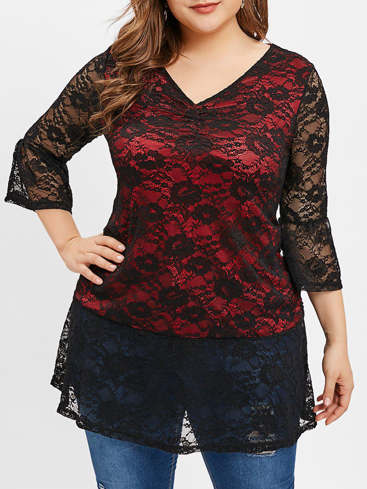 Plus Size Sheer Lace Overlay Tunic Blouse