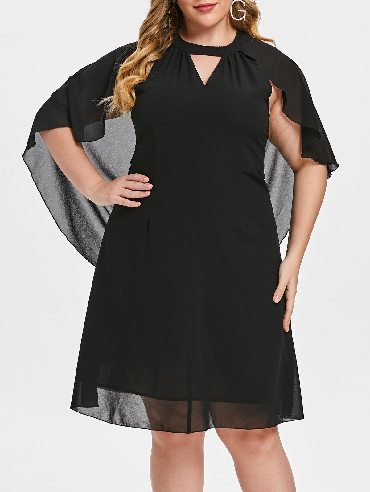 Plus Size Solid Color Cut Out Batwing Sleeve Dress - BLACK 1X