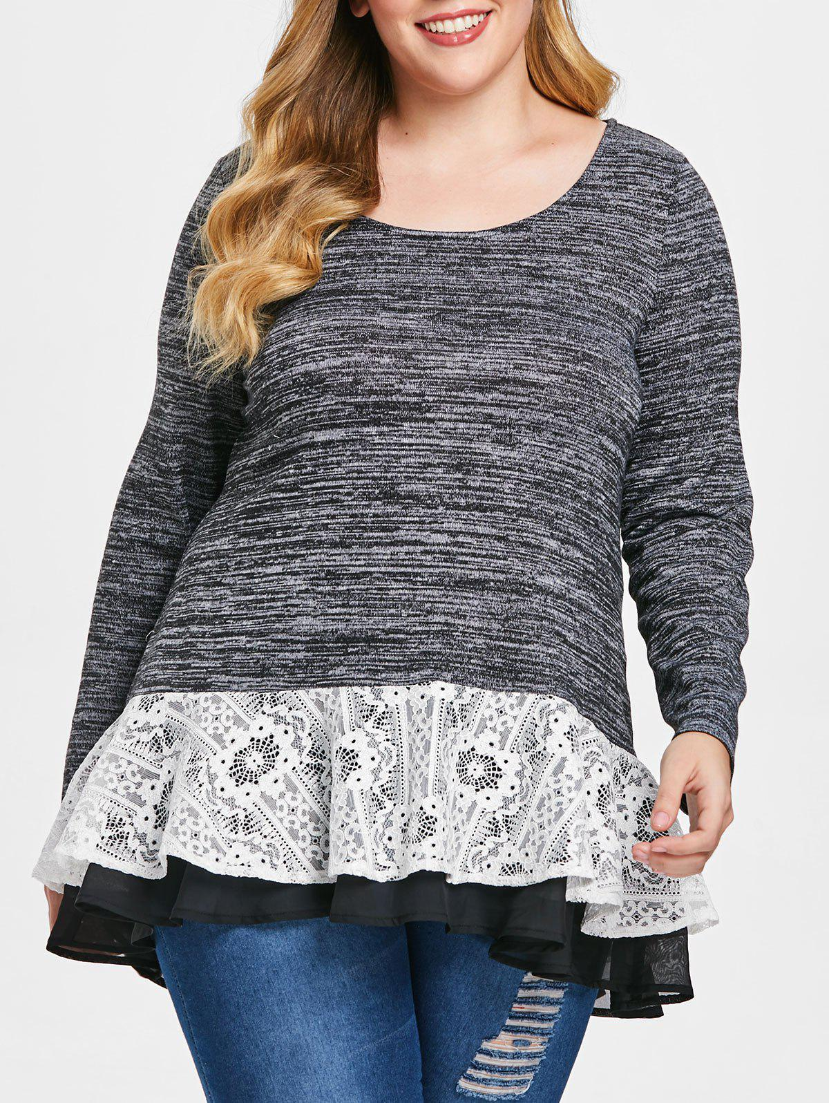 Plus Size Layered Lace Trim Space Dyed T-shirt