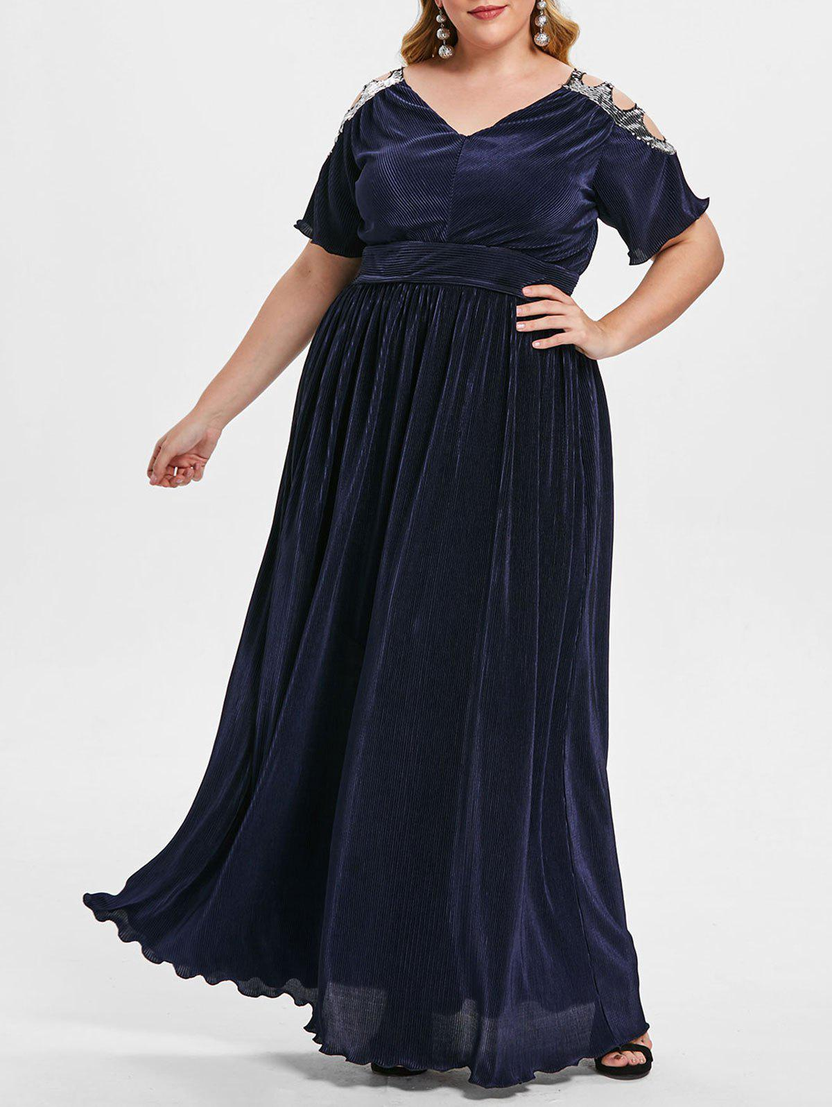 Plus Size Sequined Pleated Maxi Dress - CADETBLUE 2X