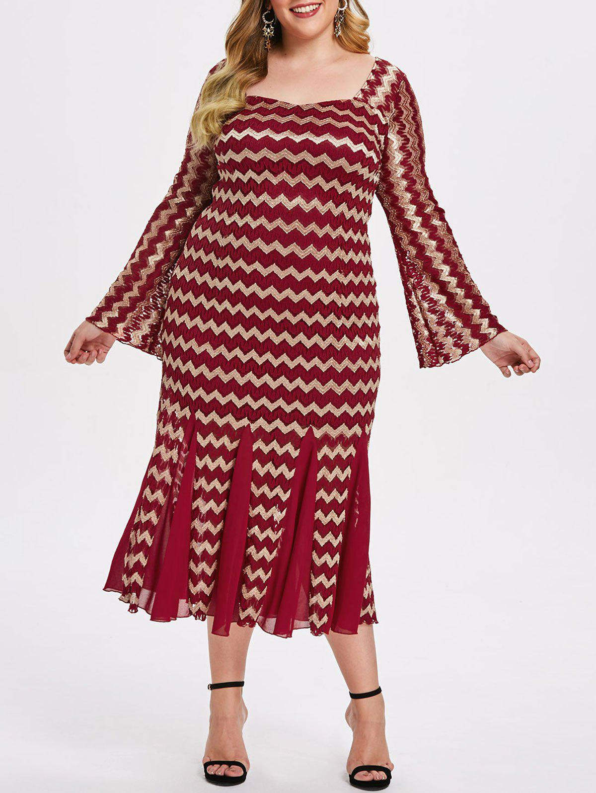 Plus Size Zigzag Lace Bodycon Dress - RED WINE L