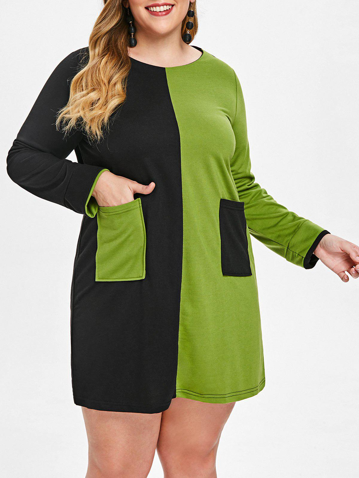 Front Pocket Plus Size Two Tone Dress - GREEN APPLE 1X