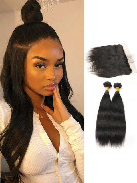 8516cbdfa3 Straight Human Hair Brazilian Virgin Hair Weaves with Lace Frontal Closure  - NATURAL BLACK 24INCH X