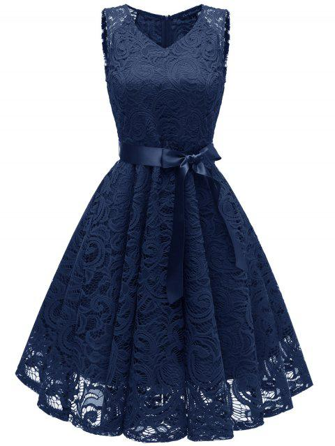 Lace Flare Belted Cocktail Dress - CADETBLUE 2XL