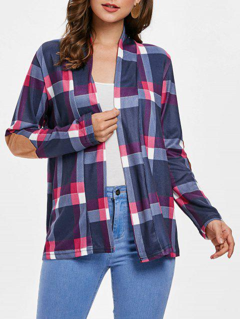 Plus Size Open Front Plaid Cardigan - ROSE RED 2XL