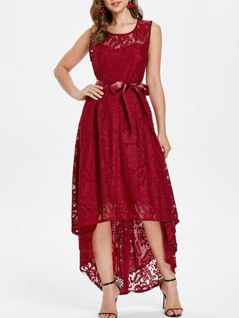 Lace High Low Maxi Prom Dress - RED WINE XL