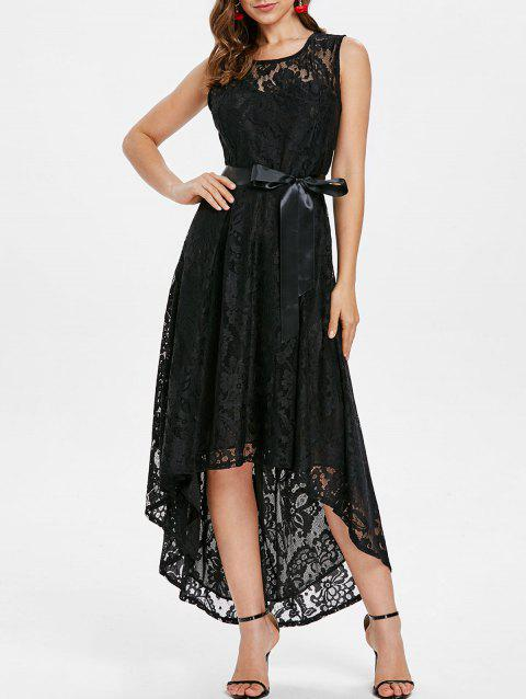 Lace High Low Maxi Prom Dress - BLACK M