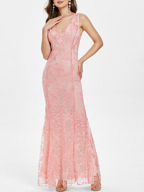 Plunge Open Back Embroidered Prom Dress - LIPSTICK PINK XL