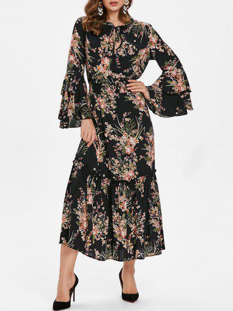 Flare Sleeve Tiny Floral Print Long Dress - BLACK XL