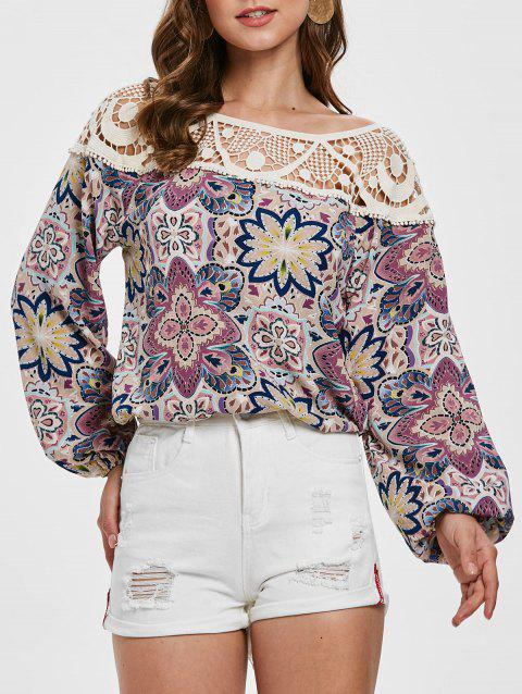 Long Sleeve Crochet Panel Full Floral Blouse - multicolor 2XL