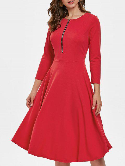 High Waist Half Zipper Flare Dress - RED 2XL